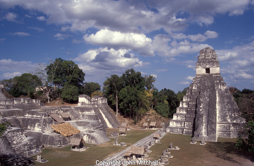 Temple I or Temple of the Grand Jaguar and the North Acropolis at the Mayan ruins of Tikal, Guatemala