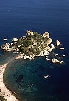 Isola Bella, a small island in the Mediterranean Sea off the coast of Ragusa in Sicily, Italy.