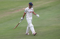 Alastair Cook of Essex leaves the field having been dismissed for 6 during Essex CCC vs Yorkshire CCC, Specsavers County Championship Division 1 Cricket at The Cloudfm County Ground on 9th July 2019
