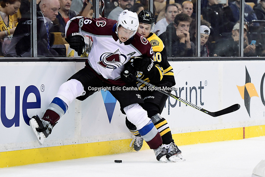 October 9, 2017: Colorado Avalanche defenseman Erik Johnson (6) fights to keep Boston Bruins left wing Anders Bjork (10) off the puck during the NHL game between the Colorado Avalanche and the Boston Bruins held at TD Garden, in Boston, Mass. Colorado defeats Boston 4-0. Eric Canha/CSM