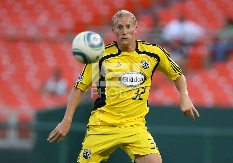 Steven Lenhart #32 of the Columbus Crew during a US Open Cup semi final match against D.C. United at RFK Stadium on September 1 2010, in Washington DC. Crew won 2-1 aet.