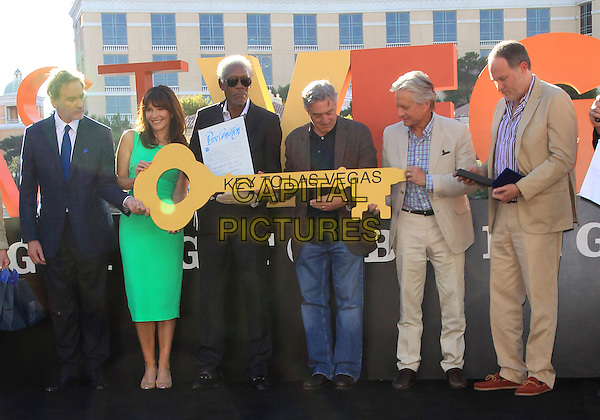 Kevin Kline, Mary Steenburgen, Morgan Freeman, Robert DeNiro, Michael Douglas, Jon Turteltaub. <br /> &quot;Last Vegas&quot; cast received the key to Vegas at the Bellagio Fountain, Las Vegas, NV, USA, 18th October 2013.<br /> full length green dress jeans beige suit shirt blue <br /> CAP/ADM/MJT<br /> &copy; MJT/AdMedia/Capital Pictures