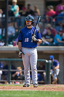 Terence Connelly (18) of the Missoula Osprey looks to his third base coach for the sign during the game against the Billings Mustangs at Dehler Park on August 20, 2017 in Billings, Montana.  The Osprey defeated the Mustangs 6-4.  (Brian Westerholt/Four Seam Images)