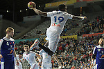 20.01.2013 Barcelona, Spain. IHF men's world championship, eighth.final. Picture show Luc Abalo   in action during game between Island  vs France at Palau st Jordi