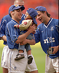 Claudio Reyna with his son after beating Aberdeen in the 2000 Scottish Cup Final
