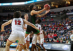 SIOUX FALLS, SD - MARCH 8: Marlon Stewart #1 of the North Dakota Fighting Hawks takes the ball to the basket against the South Dakota Coyotes at the 2020 Summit League Basketball Championship in Sioux Falls, SD. (Photo by Dave Eggen/Inertia)