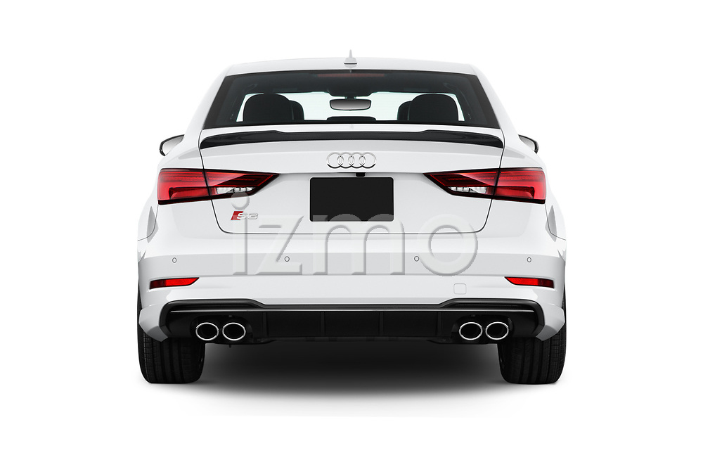 Straight rear view of 2017 Audi S3 Premium-Plus 4 Door Sedan Rear View  stock images