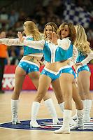 Cheerleaders dancing during 2014-15 Euroleague Basketball match between Real Madrid and Anadolu Efes at Palacio de los Deportes stadium in Madrid, Spain. December 18, 2014. (ALTERPHOTOS/Luis Fernandez) /NortePhoto /NortePhoto.com