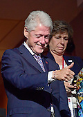 Former United States President Bill Clinton acknowledges the delegates after US Senator Bernie Sanders (Independent of Vermont) completed his remarks at the 2016 Democratic National Convention at the Wells Fargo Center in Philadelphia, Pennsylvania on Monday, July 25, 2016.<br /> Credit: Ron Sachs / CNP<br /> (RESTRICTION: NO New York or New Jersey Newspapers or newspapers within a 75 mile radius of New York City)