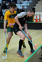 Action from the 2019 Under-19 Men's World Floorball Championships Qualification match between New Zealand and Australia at ASB Sports Centre in Wellington, New Zealand on Saturday, 29 September 2018. Photo: Dave Lintott / lintottphoto.co.nz