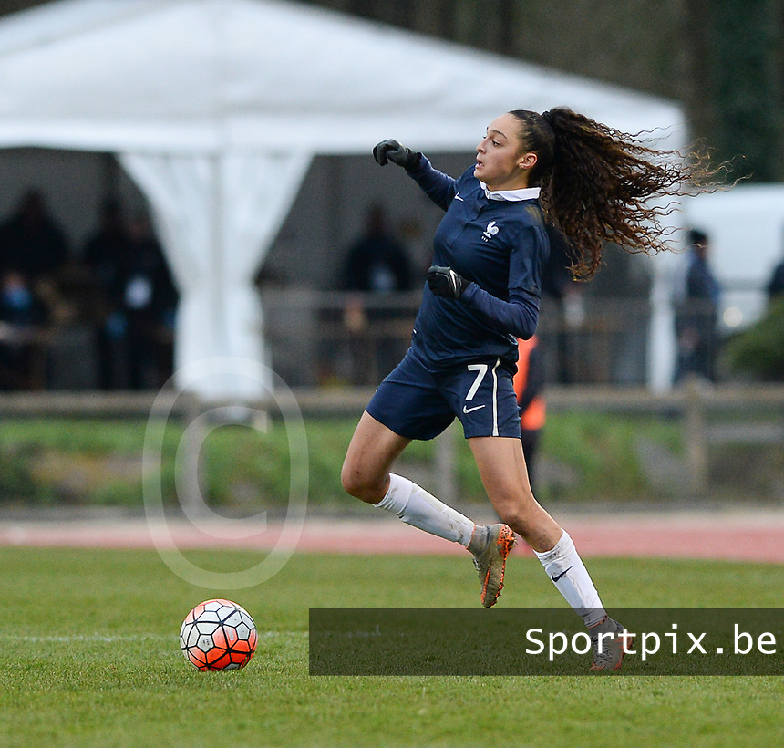 20160319 - FLERS , FRANCE : French Lina Boussaha pictured during the soccer match between the women under 17 teams of  France and the Czech Republic , on the first matchday in group 3 of the UEFA Women Under17 Elite rounds at Stade du Haze in Flers , France . Saturday 19th March 2016 . PHOTO DAVID CATRY