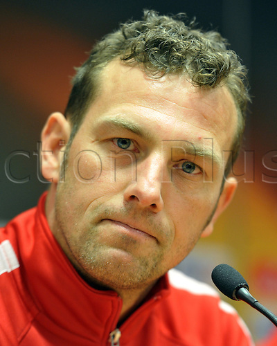 24.02.2016. Anfield, Liverpool, UK.  Augsburg's coach Markus Weinzierl speaks during a press conference in Liverpool, UK, 24 February 2016. FC Augsburg and Liverpool will play in the Europa League round of 32 soccer match on 25 February 2016.