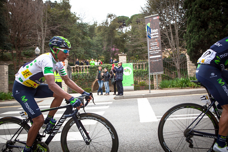 The leader of the Volta Catalunya 2016 cycle race, Colombian Nairo Quintana, successfully defends his jersey from Alberto Contador and Dan Martin as the peloton climbs Montjuic, Barcelona, on the last stage of the Volta Catalunya 2016 cycling race. <br /> <br /> El l&iacute;der de la carrera ciclista Volta Catalunya 2016, Colombia Nairo Quintana, defiende con &eacute;xito su maillot de Alberto Contador y Dan Martin como el pelot&oacute;n sube Montjuic, Barcelona, en la &uacute;ltima etapa de la carrera ciclista Volta Catalunya 2016.<br /> <br /> El l&iacute;der de la cursa ciclista Volta Catalunya 2016, Col&ograve;mbia Nairo Quintana, defensa amb &egrave;xit el seu mallot d'Alberto Contador i Dan Martin com el pilot puja Montju&iuml;c, Barcelona, en l'&uacute;ltima etapa de la cursa ciclista Volta Catalunya 2016.