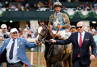 """LEXINGTON, KY - October 7, 2017. #9 Free Drop Billy and jockey RObby Albarado after winning the 104th running of the Claiborne Breeders' Futurity, Grade 1 $500,000 """"Win and You're In Breeders' Cup Juvenile Division"""" for owner Albaugh Family Stables, and trainer Dale Romans at Keeneland Race Course.  Lexington, Kentucky. (Photo by Candice Chavez/Eclipse Sportswire/Getty Images)"""