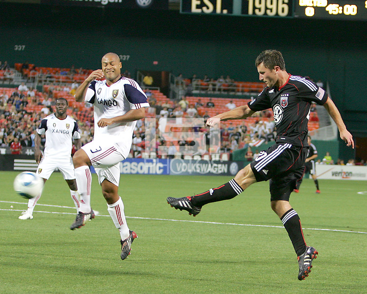 Stephen King #20 of D.C. United blasts a shot past Robbie Russell #3 of Real Salt Lake during an MLS match at RFK Stadium, on June 5 2010 in Washington DC. The game ended in a 0-0 tie.