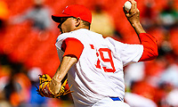 Lazaro Blanco, starting pitcher of the Alazanes of Granma Cuba, throws the ball in the first inning of the baseball game of the Caribbean Series against the Caribs of Anzo&aacute;tegui<br /> &nbsp; of Venezuela in Guadalajara, Mexico, Friday, February 2, 2018.<br /> ( Photo: Luis Gutierrez)
