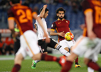 Calcio, Serie A:  Roma vs Palermo. Roma, stadio Olimpico, 21 febbraio 2016. <br /> Roma&rsquo;s Mohamed Salah kicks the ball during the Italian Serie A football match between Roma and Palermo at Rome's Olympic stadium, 21 February 2016.<br /> UPDATE IMAGES PRESS/Riccardo De Luca