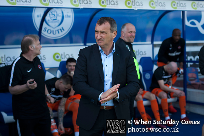 Visiting manager Csaba Laszlo standing in the technical area at Palmerston Park, Dumfries before Queen of the South hosted Dundee United in a Scottish Championship fixture. The home has played at the same ground since its formation in 1919. Queens won the match 3-0 watched by a crowd of 1,531 spectators.