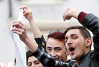 Manifestazione a sostegno della legge sulle unioni civili in discussione nei prossimi giorni al Senato, a Roma, 23 gennaio 2016.<br /> People attend a demonstration in favor of civil unions rights, including gay couples, ahead of a parliamentary debate, in Rome, 23 January 2016. <br /> UPDATE IMAGES PRESS/Riccardo De Luca