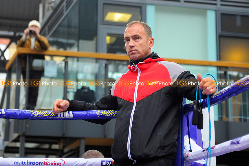 Trainer Mark Tibbs during a Public Workout at Old Spitalfields Market on 12th April 2019