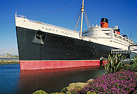 "Queen Mary"""" ocean liner turned museum at dock in Long Beach, CA. Long Beach California USA."