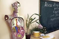 Azerbaijan. Ganja Region. Ganja. Secondary school no:6. Classroom. Black board with chalk writings. Cactus and green plant. An anatomical model of a human body. © 2007 Didier Ruef