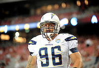 Aug. 22, 2009; Glendale, AZ, USA; San Diego Chargers defensive end (96) Keith Grennan against the Arizona Cardinals during a preseason game at University of Phoenix Stadium. Mandatory Credit: Mark J. Rebilas-
