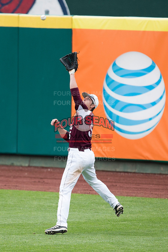 Patrick Drake #5 of the Missouri State Bears catches a ball in right field during a game against the Wichita State Shockers at Hammons Field on May 5, 2013 in Springfield, Missouri. (David Welker/Four Seam Images)