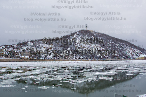 Gellert hill is seen over river Danube in the winter cityscape in Budapest, Hungary on February 15, 2012. ATTILA VOLGYI