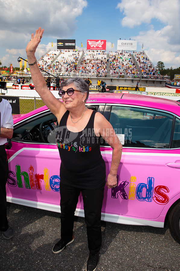 "Mar 15, 2019; Gainesville, FL, USA; NHRA driver Shirley Muldowney during the Toyota ""Unfinished Business"" legends race at qualifying for the Gatornationals at Gainesville Raceway. Mandatory Credit: Mark J. Rebilas-USA TODAY Sports"