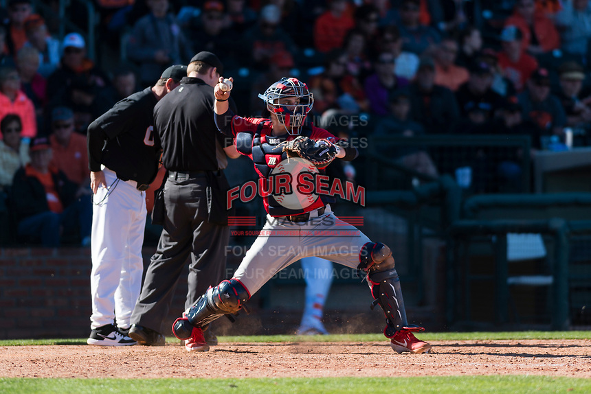 Gonzaga Bulldogs catcher Slade Heggen (33) between innings of a game against the Oregon State Beavers on February 16, 2019 at Surprise Stadium in Surprise, Arizona. Oregon State defeated Gonzaga 9-3. (Zachary Lucy/Four Seam Images)