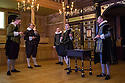 London, UK. 14.01.2014. The new Sam Wanamaker Playhouse, at Shakespeare's Globe, opens with The Duchess of Malfi, by John Webster, directed by Dominic Dromgoole. Picture shows: Dickson Tyrell (Lalateste), Brendan O'Hea (Pescara), Giles Cooper (Silvio), David Dawson (Ferdinand) and John Dougall (Castruccio). Photograph © Jane Hobson.