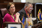 Nevada Senate Republicans Becky Harris and Pete Goicoechea work on the Senate floor at the Legislative Building in Carson City, Nev., on Tuesday, April 21, 2015. <br /> Photo by Cathleen Allison