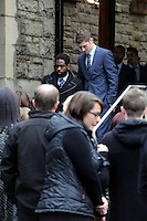 Pictured: Swansea City's Nathan Dyer and Ben Davies, arriving at Morriston Crematorium.<br />