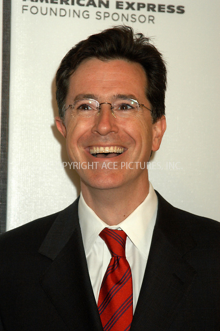 WWW.ACEPIXS.COM . . . . . ....NEW YORK, APRIL 22, 2005....Stephen Colbert at the 'Great New Wonderful' premiere held at Stuyvesant High School as a part of the Tribeca Film Festival.....Please byline: KRISTIN CALLAHAN - ACE PICTURES.. . . . . . ..Ace Pictures, Inc:  ..Craig Ashby (212) 243-8787..e-mail: picturedesk@acepixs.com..web: http://www.acepixs.com