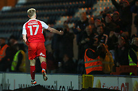 Paddy Madden of Fleetwood Town celebrates scoring during the Sky Bet League 1 match between Rochdale and Fleetwood Town at Spotland Stadium, Rochdale, England on 20 March 2018. Photo by Thomas Gadd.