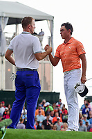 Rickie Fowler (USA) congratulates Russell Henley (USA) for winning the Shell Houston Open, Golf Club of Houston, Houston, Texas, USA. 4/2/2017.<br /> Picture: Golffile | Ken Murray<br /> <br /> <br /> All photo usage must carry mandatory copyright credit (&copy; Golffile | Ken Murray)