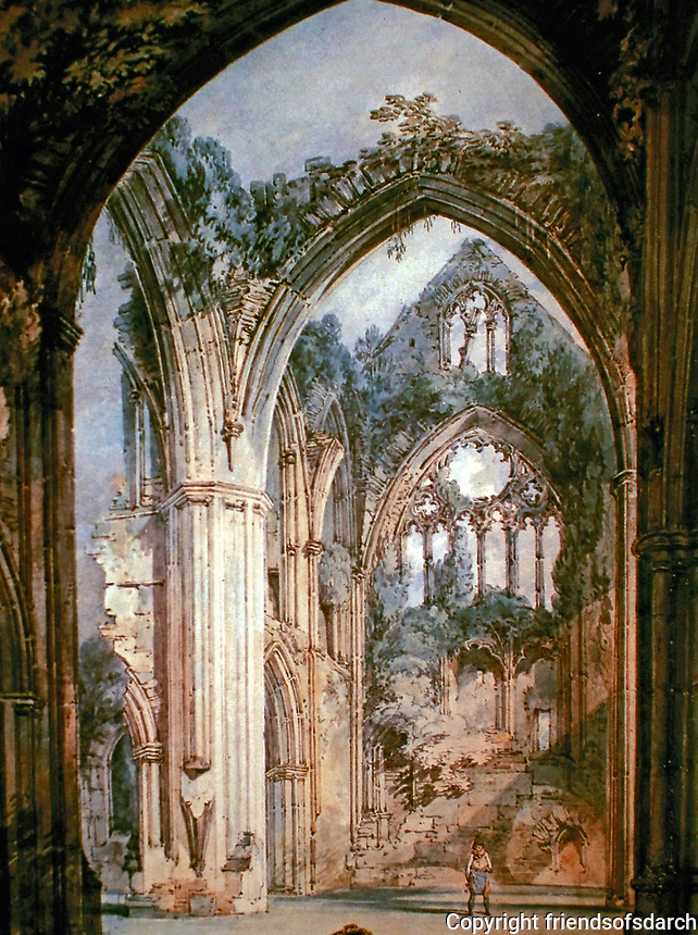 A painting of Tintern Abbey, a Cistercian monastery in Wales. 1790's.