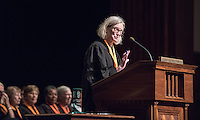 Susan Mallory '76 M'78, Chair of the Board of Trustees, welcomes first-years. 508 members of the Class of 2020 are welcomed to Occidental College by trustees, faculty and staff in Thorne Hall on Aug. 30, 2016 during Oxy's 129th Convocation ceremony, a tradition that formally marks the start of the academic year and welcomes the new class.<br /> (Photo by Marc Campos, Occidental College Photographer)