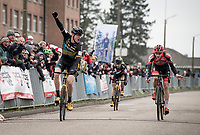 Toon Aerts (BEL/Telenet Baloise Lions) wins the 3-man-sprint that puts him on the highest podium step ahead of Michael Vanthourenhout (BEL/Pauwels Sauzen - Bingoal) & Lars van der Haar (NED/Telenet Baloise Lions)<br /> <br /> Elite + U23 Men's Race<br /> CX GP Leuven (BEL) 2020<br />  <br /> ©kramon