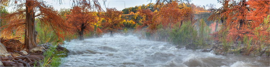Flowing fast and furious, the usually tranquil river of Pedernales Falls State Park was menacing after heavy rains the previous days. I had gone out to shoot the Autumn colors that this state park offers, but also tried to capture the scene of a roaring river, as well, in this panorama from the hill country of Texas.
