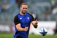 Jamie Roberts of Bath Rugby passes the ball during the pre-match warm-up. Heineken Champions Cup match, between Bath Rugby and Stade Toulousain on October 13, 2018 at the Recreation Ground in Bath, England. Photo by: Patrick Khachfe / Onside Images