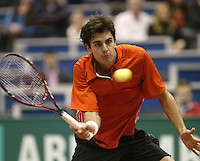 22-2-06, Netherlands, tennis, Rotterdam, ABNAMROWTT,  Mario Ancic in action against Jarkko Nieminnen