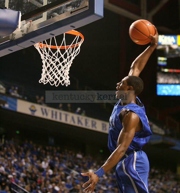 Freshman Brandon Knight dunks during the second half of the UK's mens basketball Blue White scrimmage held at Rupp Arena Tuesday, Oct. 26, 2010. Photo by Brandon Goodwin | Staff