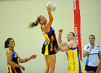 Magic goaldefence Casey Williams intercepts a pass to Caitlin Thwaites. ANZ Netball Championship - Central Pulse v Bay Of Plenty-Waikato Magic at TSB Bank Arena, Wellington, New Zealand on Monday, 28 February 2011. Photo: Dave Lintott / lintottphoto.co.nz