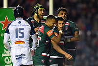 Ben Youngs of Leicester Tigers celebrates his first half try with team-mates. European Rugby Champions Cup match, between Leicester Tigers and Castres Olympique on October 21, 2017 at Welford Road in Leicester, England. Photo by: Patrick Khachfe / JMP