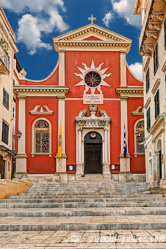 Metropolitan Church of Hyperagia Theotokos Spileotissa at the old town of Corfu, Greece