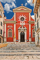 Metropolitan Church of Hyperagia Theotokos Spileotissa at the old town of Corfu, Greece