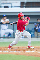 Chris Rivera (11) of the Johnson City Cardinals follows through on his swing against the Burlington Royals at Burlington Athletic Park on July 14, 2014 in Burlington, North Carolina.  The Cardinals defeated the Royals 9-4.  (Brian Westerholt/Four Seam Images)