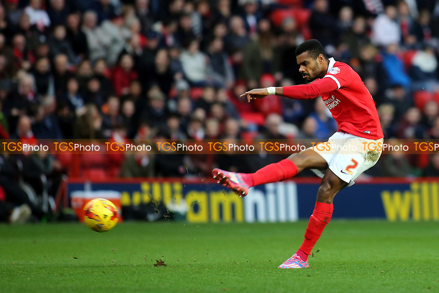 Ricardo Vaz Te of Charlton takes a shot at the Wolves goal  during Charlton Athletic vs Wolverhampton Wanderers, Sky Bet Championship Football at The Valley, London, England on 28/12/2015